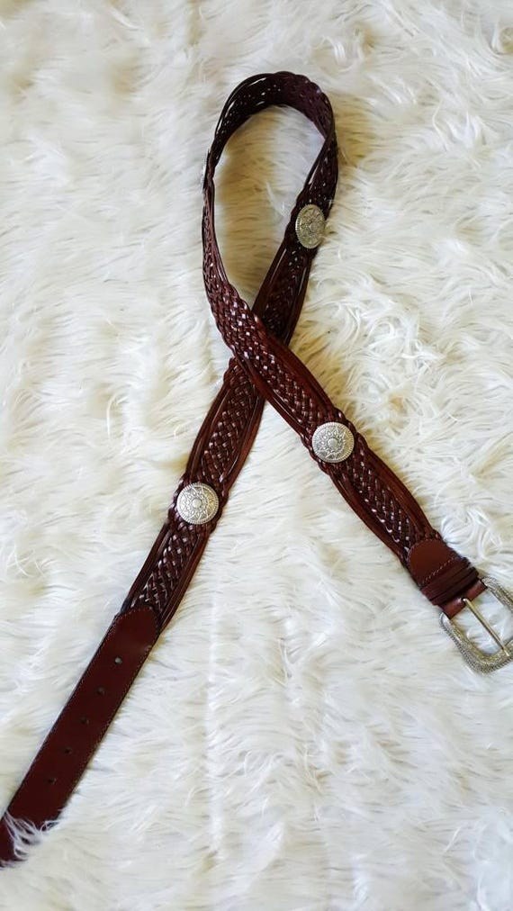 Plus size concho western style leather belt XXL 39-45""