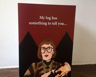 Log Lady Twin Peaks Inspired A5 Birthday Greeting Card