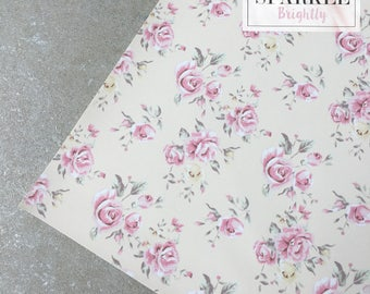 Cream Floral Leather Fabric - Craft & Bow Maker Fabric - A4 Sheet