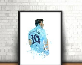 Sergio Aguero Digital Download Manchester City Legend Art Print, Football Art, Mancave Decor, Sky Blues, Argentina, Footy Art Print