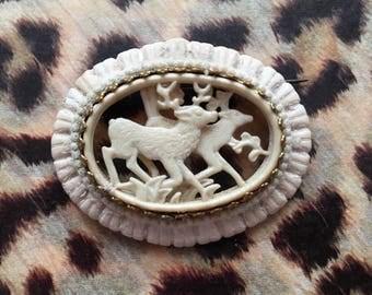 Beautiful carved stag deer brooch