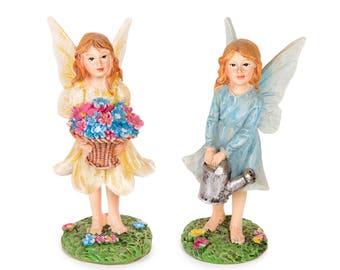 Flower Basket & Watering Can Fairies 2 Pieces - Miniature Fairy Garden Dollhouse