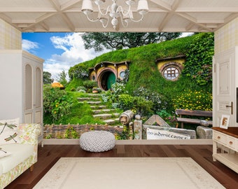 Nature Wall Mural. Fantasy Nature Panorama Wall Art. Hobbit House Wallpapers.  Giant Wall Part 61