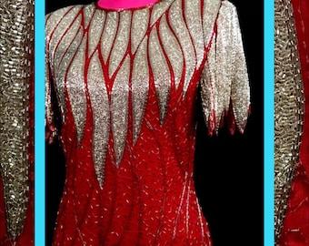 vtg red & silver dress//fully embellished
