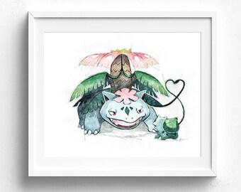 Venusaur poster, pokemon art, pokemon venusaur, pokemon go art, nursery art, fine art print, video game art, pokemon gift, kids wall art