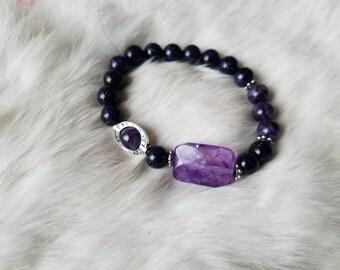 Asymmetrical Blue Goldstone and Amethyst Bracelet