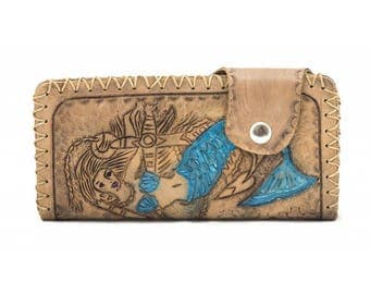Perla 11031: Handmade Tattoo-Craft Sea Girl Pattern Wallet (Smoked)