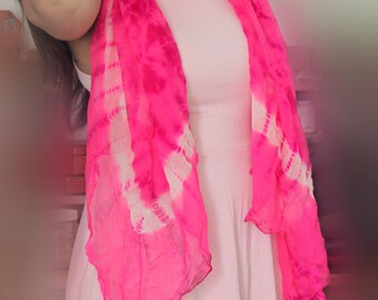 Pink georgette hand dyed wrap, pink scarf, hand tied and dyed georgette wrap/scarf