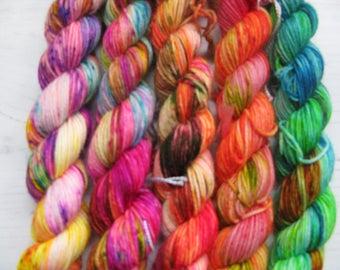 "4 Ply ""Neon "" Mini set.Hand dyed sock yarn."
