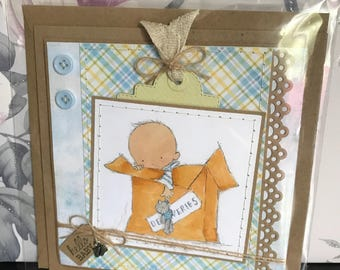 Handmade hand-stitched new baby card