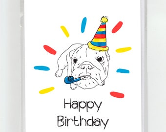 Bulldog Happy Birthday Greeting Card