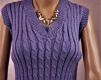 Sweater, wool, sweater tank top, pullover sweater, pullover handmade Wool Sweater, lilac sweater, cable knit sweater