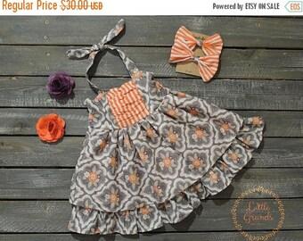 25% OFF Orange Striped and Floral Halter Top Sundress Set 2T