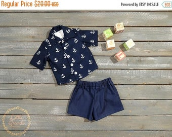 25% OFF 6-9 Month Boys Anchor Button up Shirt and Shorts Set