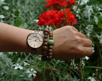 Handmade beaded bracelet, Earth colors