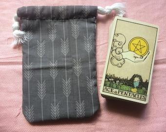 Gray with Ogham Arrows Pattern Drawstring Tarot Deck Bag