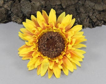 Vintage inspired sunflower yellow rockabilly hair flower/Hairflower