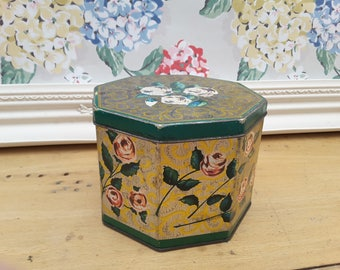 Vintage 1960s Huntley & Palmer's biscuit tin. Rosalie octagonal design