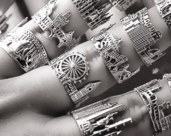 Cityscape Silver Rings Chicago Personalized jewelry Fine jewelry Graduation gifts Customized jewelry City Skyline Cityscape Ring unique ring