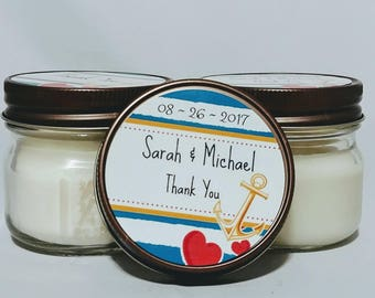 Organic Soy candle,navy candle favors,scented soy candles,wedding candle favors,custom candles,party candle favors,bridal shower favors,