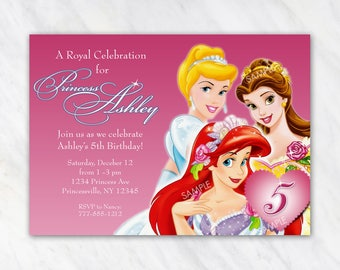 Disney Princess Invitation for Birthday Party - Ariel Little Mermaid, Cinderella, Belle - Printable Digital File