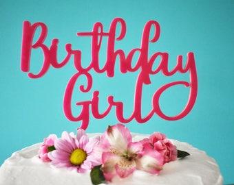 Large Pink Birthday Girl Cake Topper For Girl's Birthday Cake