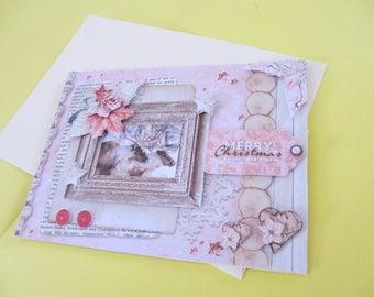 Vintage Merry Christmas Reindeer 3D card