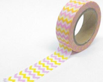 Washi Tape Chevron 10Mx15mm yellow, pink and white geometric pattern