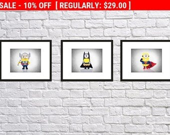 Discount Set of 3 Minions Superheroes prints, minions prints, minions decor, nursery wall art, nursery prints, batman, superman, thor