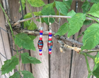 Red,White and Blue Earrings. 4th of July jewelry