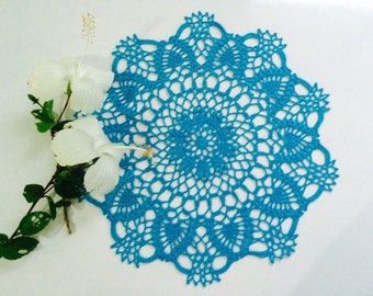 Turquoise doily, Blue doily, Crochet lace doily, Pineapple doily, Table Topper, Housewarming gift, Home decor, Wedding doily, Handmade doily