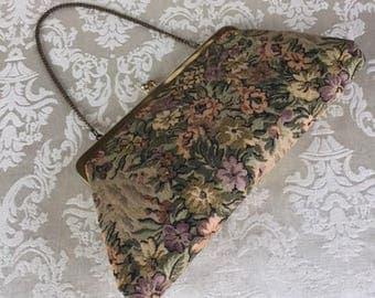 Vintage Tapestry Floral Handbag Evening Bag Purse Clutch