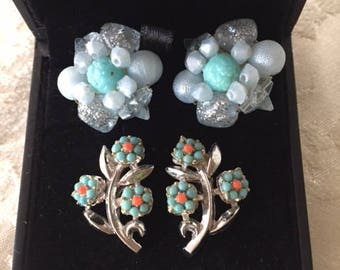 2 Pairs of Earrings - Vintage Clusters and Screw Back in Aqua, Blue and Peach
