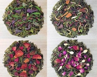Cocoa Delight Variety Organic Loose Green Tea Blend.. Cocoa Nibs/Strawberry/Rose/Jasmine/Peppermint/Spearmint/Orange/Vanilla/Raspberry.....