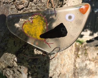 Handmade Fused Glass Bird Suncatcher