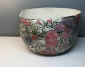 Large Peony and Hummingbird Sculptured Bowl
