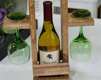 Wood Wine Caddy, Wine Carrier, Wine Tote, Rusic, Wedding Gift, House Warming, Pick your color