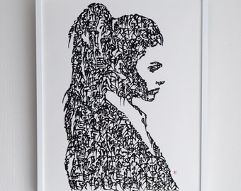 Handwriting Japanese Calligraphy Art Piece 'side face of a woman'