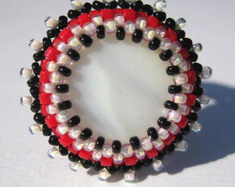 Burst of Color Ring in Bright Red, Black and white