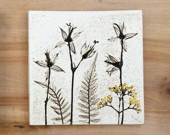 Ceramic botanical tile with 24ct Gold Leaf
