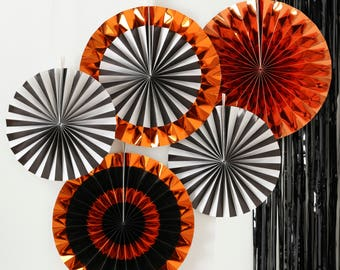Orange Foiled Mixed Pack Fan Decorations, Halloween Paper Fans, Orange, Black, Striped Paper Fans, Halloween Decorations, Halloween Party