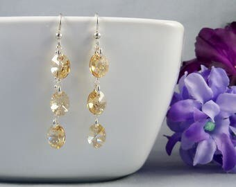 Gold Swarovski Earrings, Golden Shadow Crystal and Sterling Silver Earrings, Champagne Gold Bridal Jewelry
