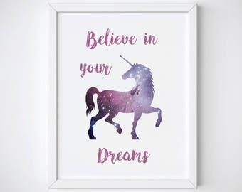 Unicorn Stardust Printable, Unicorn Wall Art, Unicorn Galaxy Print, Unicorn Nursery Art Print, Pink Unicorn Art Print, Unicorn Silhouette