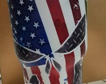 American Flag Skeleton Metal Tumbler