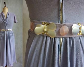 Lavender 1930s Dress / Vintage 1930s Summer Dress with Beaded Belt