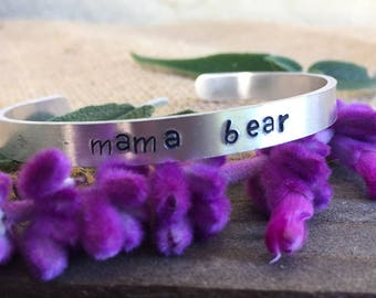 "Hand Stamped Mother's Day ""Mama Bear"" Bracelet"