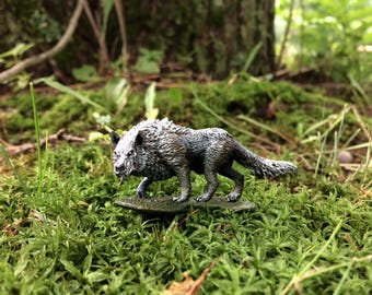 Silver Dire Wolf/ Warg RPG Handpainted Miniature for Tabletop Games DND