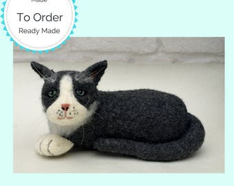 Lifelike Knitted and felted Black and White cat
