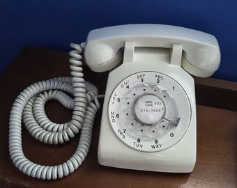 Vintage White Rotary Phone, Working