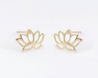 "Flower earrings ""Lotus"" gold"